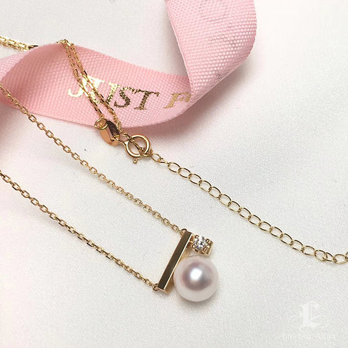 AAAA 7.5-8 mm Akoya Pearl Pendant 18k Gold w/ Diamond