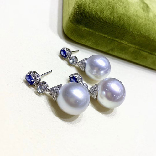0.68ct Diamond AAA 14-15 mm South Sea Pearl Luxury Earrings  18k Gold