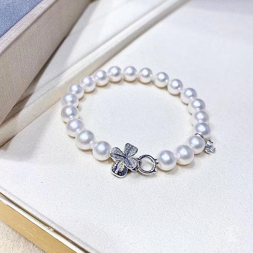 Famous Style! AAAA 7-7.5 mm Akoya Pearl Bracelet 18k Gold w/ Diamond