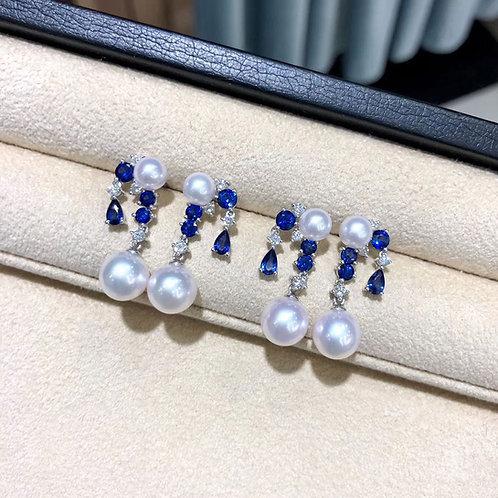 1.55ct Sapphire, AAAA 5.5-9 mm Akoya Pearl Earrings 18k Gold w/ Diamond
