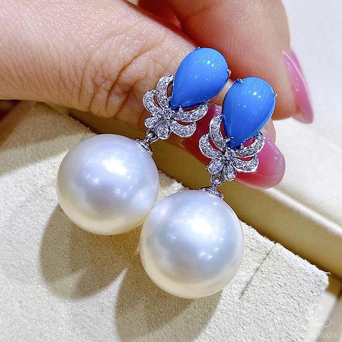 Natural Turquoise, AAAA 14-15 mm South Sea Pearl Earrings 18k Gold w/ Diamond