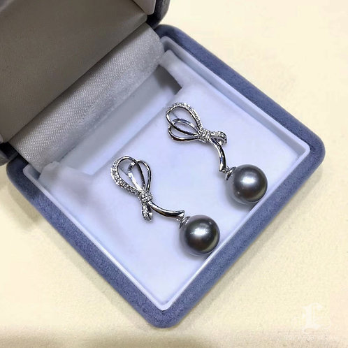 0.25ct Diamond AAAA 9-10 mm Gray Tahitian Pearl Earrings, 18k White Gold