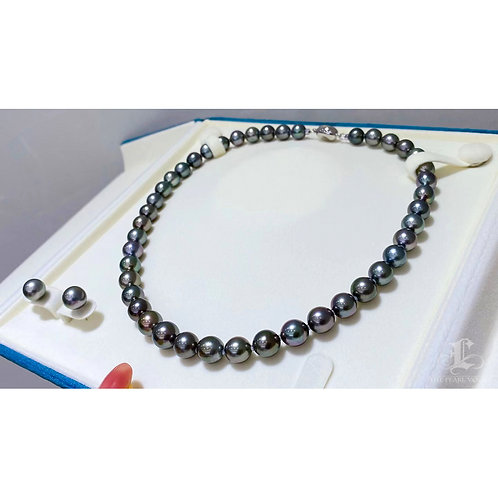45cm 8-10.8 mm Black Queen|黑蝶真珠 Tahitian Pearl Necklace w/ Japan Certificate