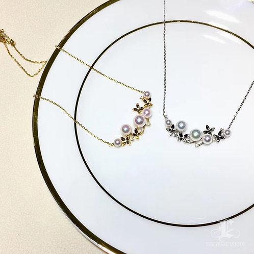 AAAA 4-7 mm Akoya Pearl Fashion Pendant, 18k Gold w/ Diamond