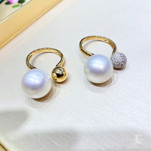 0.54 ct Sapphire AAAA 13-14 mm South Sea Pearl Adjustable Ring 18k Gold Diam