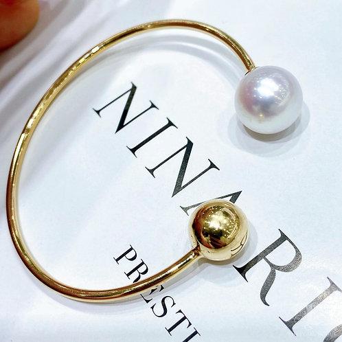 AAAA 12-13 mm South Sea Pearl Adjustable Bracelet 18k Gold