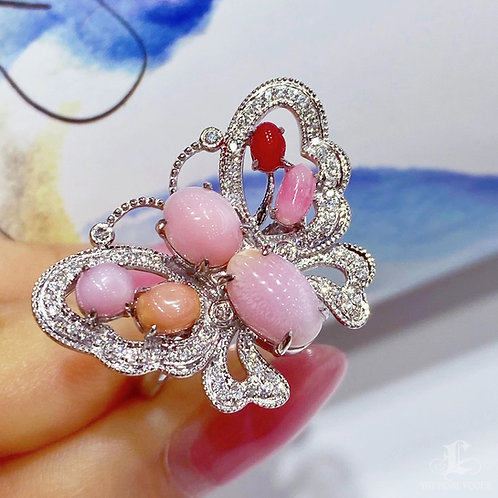 4.50 ct Conch Pearl Luxury Ring Pendant 18k Gold Diamond w/ Japan Certificate
