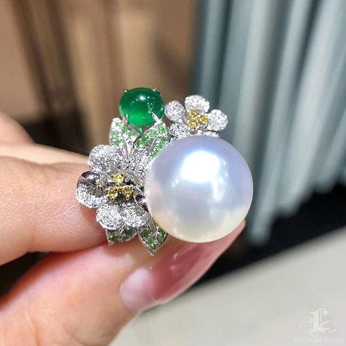 1.45ct Emerald, AAAA 12-13 mm South Sea Pearl Royal Ring, 18k Gold w/ Diamond