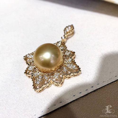 0.26 ct Diamond AAAA 13-14 mm Golden South Sea Pearl Pendant 18k Gold