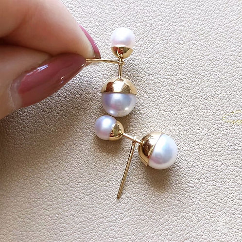 AAAA 5-8.5 mm Akoya Pearl Lady Earrings 18k Gold
