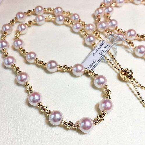 70cm, AAAA 8-8.5 mm Akoya Pearl Novel Strand Necklace 18k Gold