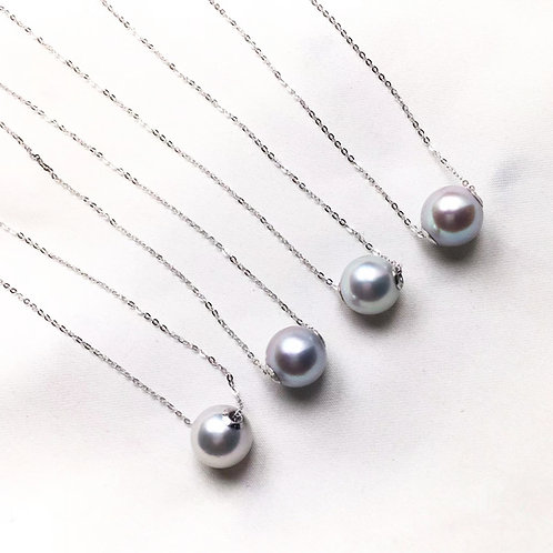 AAA 8.5-9mm Akoya Pearl Lucky Necklace w/ 18k White Gold Chain