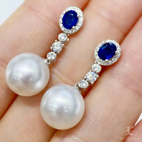 0.72 ct Sapphire AAAA 11-12 mm South Sea Pearl Earrings 18k Gold w/ Diamond