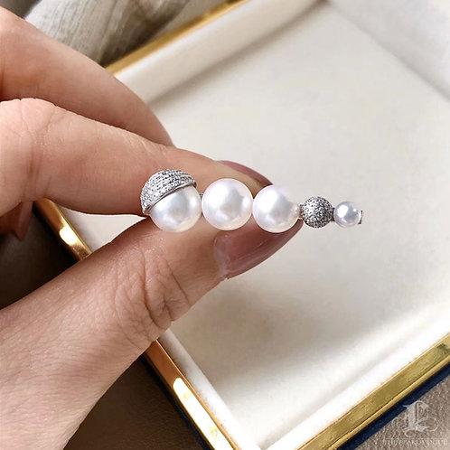 0.71 ct Diamond AAAA 3-9 mm Akoya Pearl Earrings 18k Gold