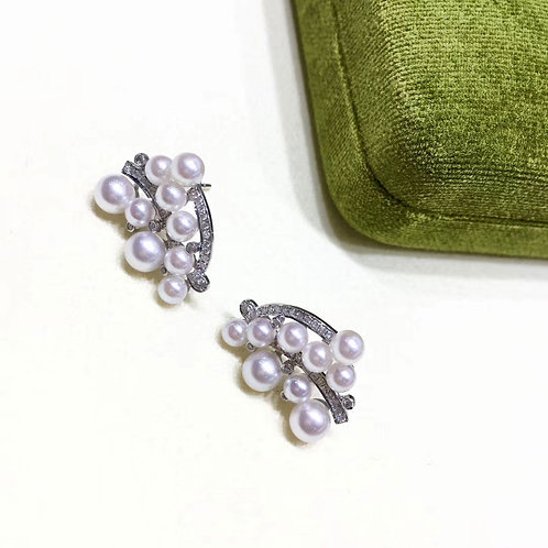 0.45ct Diamond, AAAA 3-4.5 mm Baby Akoya Pearl Fashion Earrings, 18k Gold