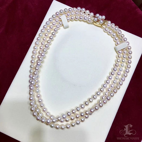 46cm, AAAA 6-7 mm Akoya Pearl Triple Strands Necklace w/ 14k Gold & Ruby Clasp