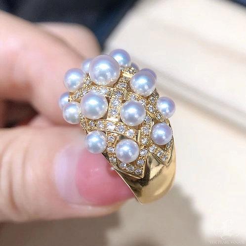 0.52 ct AAAA 2.5-4.5 mm Baby Akoya Pearl Rayol Ring, 18k Gold