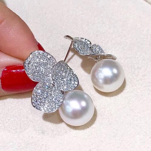 1.5ct Diamond, AAAA 12-13 mm South Sea Pearl Luxury Earrings 18k Gold