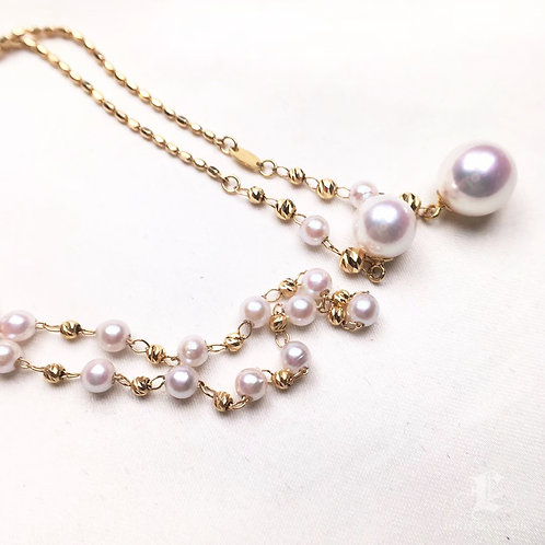 75cm Long Chain, AA 3-3.5 and 7-8.5mm Akoya Pearl Tin Cup Necklace 18k Gold
