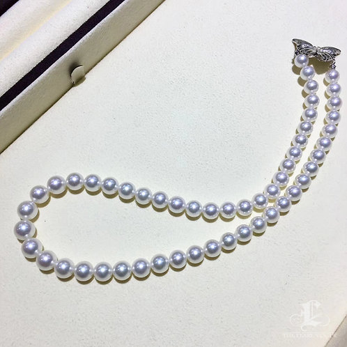 45cm SPECIAL | 8-10mm Morpho|閃蝶 Pearl Classic Necklace w/ Japanese Certifcate