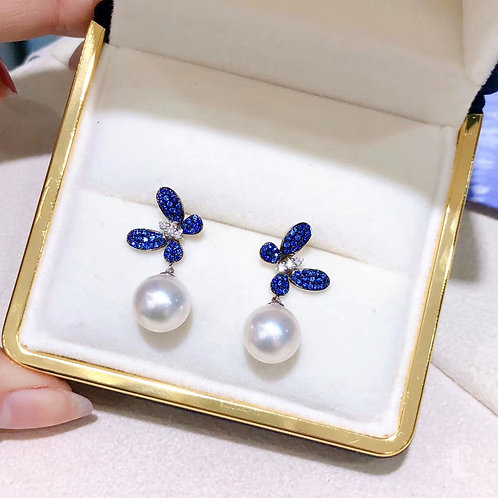 0.45ct Sapphire AAAA 9.5-10 mm Akoya Pearl Earrings 18k Gold w/ Diamond