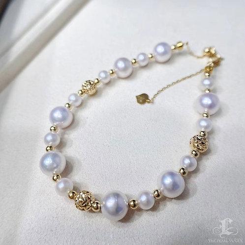 AAAA 4.5-5 mm & 7-7.5 mm Akoya Pearl Bracelet 18k Gold