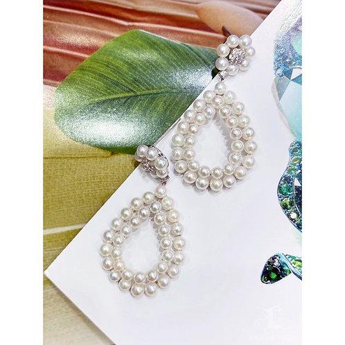 0.28 ct Aquamarine AAAA 3-4 mm Akoya Pearl Earrings 18k Gold