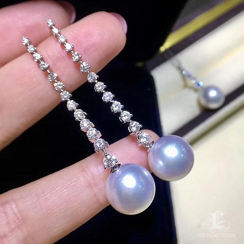 1.40ct Diamond AAAA 11-12 mm South Sea Pearl Classic Earrings, 18k Gold