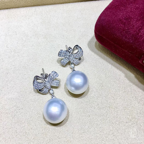 0.83ct Diamond, AAAA 13-14 mm South Sea Pearl Luxury Earrings 18k Gold