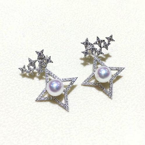 0.92ct Diamond, AAAA 6.5-7 mm Akoya Pearl Earrings, 18k Gold