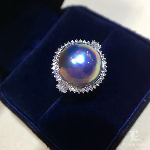 0.55ct Diamond AAAA 14-15 mm Mabe Pearl Ring, 18k White Gold