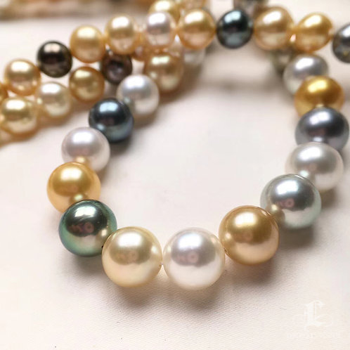 84cm Long Necklace, AAA 7-11 mm Multicolor Pearl Sweater Strand Silver Clasp