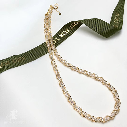 45cm, AAA 2-3 mm Akoya Pearl Lace Necklace 18k Gold