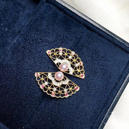 AAAA 4 mm Baby Akoya Pearl Fashion Earring, 18k Gold w/ Diamond