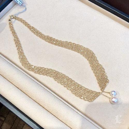 42 cm, AAAA 8.5 & 10.5 mm Akoya Pearl Collar Necklace 18k Gold