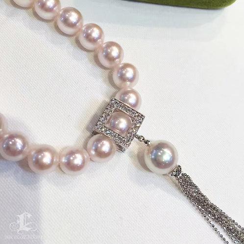 43cm, AAAA 8-8.5mm Akoya Pearl Necklace & Pendant Set 18k Gold w/ Diamond