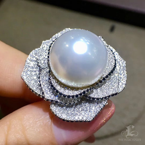 2.43ct Diamond AAAA 14 mm White South Sea Pearl Royal Ring 18k Gold