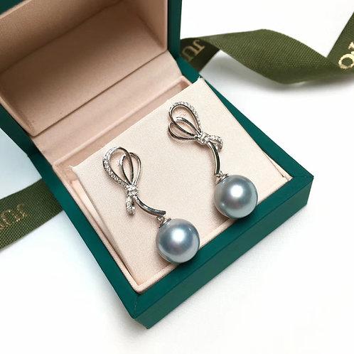 0.25ct Diamond AAAA 11-12 mm Tahitian Pearl Earrings, 18k White Gold