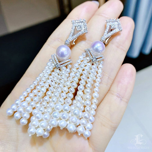 0.78 ct Diamond AAAA 8.5 mm Akoya Pearl Earrings 18k Gold w/ Freshwater Pearls