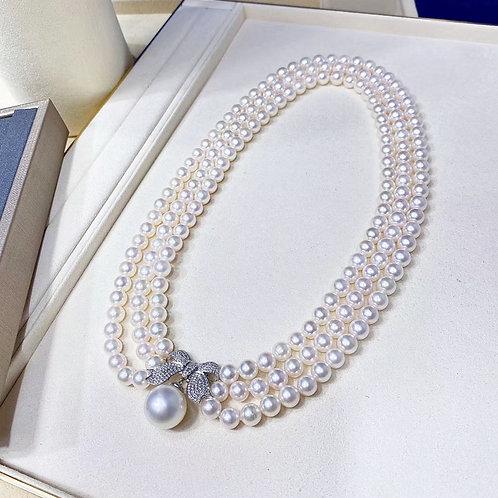 45cm, 0.88ct Diamond AAAA 6.5-7mm Akoya Pearl Triple Strands Necklace 18K Gold