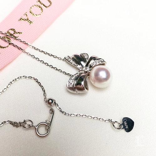 0.20ct Diamond, AAAA 8-8.5 mm Akoya Pearl Pendant 18k Gold w/ Diamond