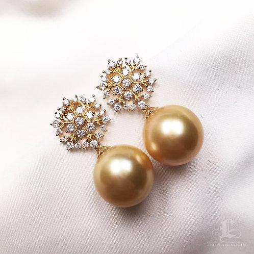 0.79ct Diamond AAAA 12-13mm Golden South Sea Pearl Earrings, 18k Gold