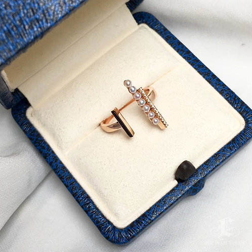 AAAA 2-2.5 mm Freshwater Pearl Fashion Adjustable Ring, 18k Gold w/ Diamond