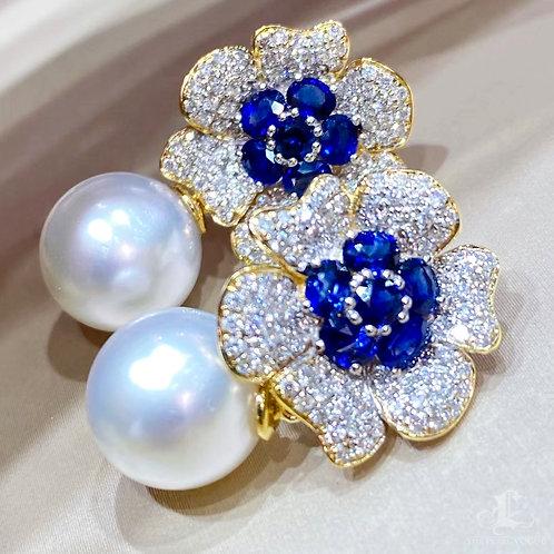 1.70 ct Sapphire AAAA 11-12 mm South Sea Pearl Earrings 18k Gold w/ Diam