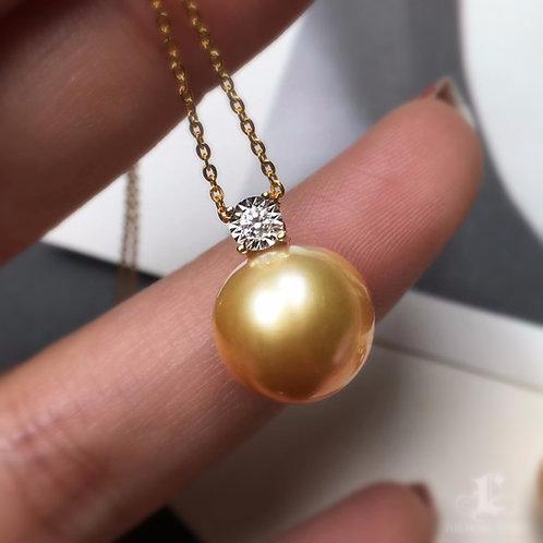 0.40ct Diamond AAAA 11-12mm Golden South Sea Pearl Pendant, 18k Gold
