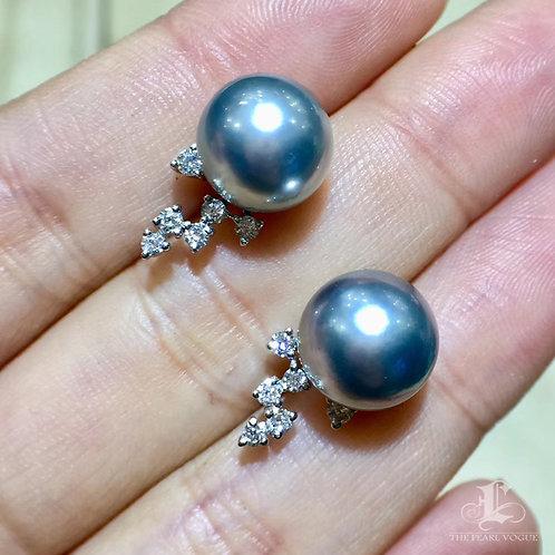 0.20ct Diamond AAAA 10-11mm Tahitian Pearl Earrings, 18k White Gold