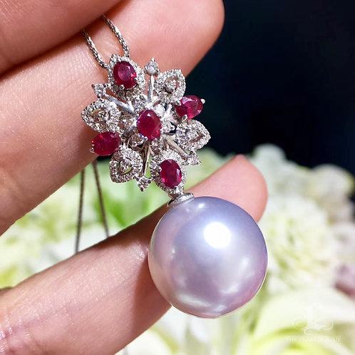 0.85ct Ruby AAAA 13-14 mm South Sea Pearl Pendant, 18k Gold w/ Diamond