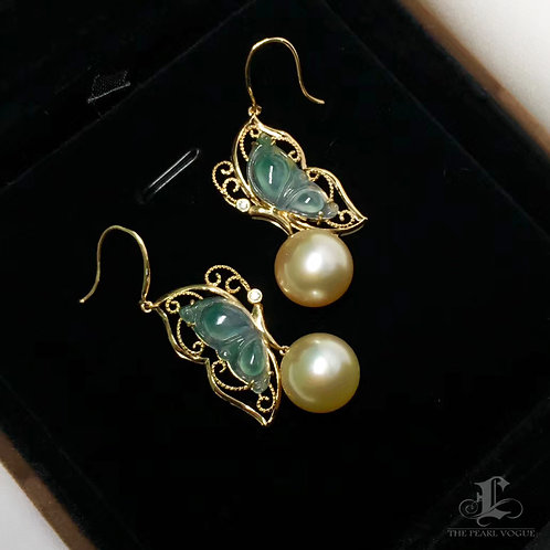 AAAA 11-12mm South Sea Pearl & Burmese Spicy Green Jadeite A Earrings 18k Gold