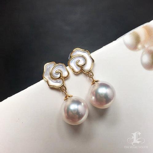 AAAA 8-8.5mm Akoya Hanadama Pearl Stud Earrings 18k Gold w/ Pearl Mother