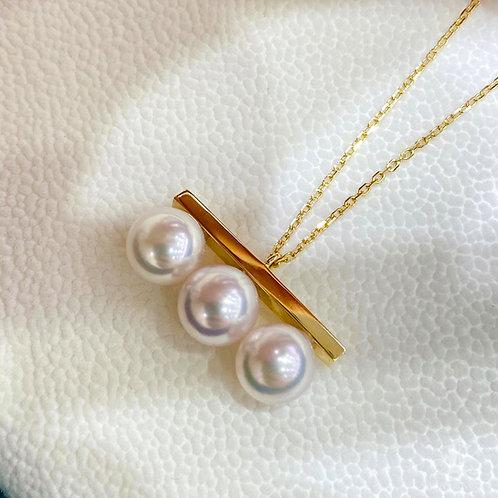 AAAA 8-8.5 Akoya Pearl Fashion Pendant 18k Gold